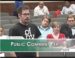 ECU students speak before the Greenville City Council on May 9. Photo courtesy of Democracy NC.